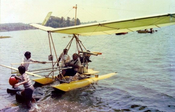 Ray Wijewardene with one of his fully collapsible experimental light aircrafts which can land and take off on water