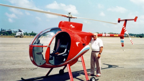 Ray Wijewardene standing beside his home-built helicopter, Sootikka'