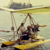 Ray Wijewardene with one of his fully collapsible, experimental light aircraft fitted with floats to take off from and land on inland water bodies (he demonstrated it at over 30 lakes and reservoirs in Sri Lanka during the 1980s)
